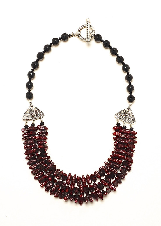 Garnet Stick Pearl Necklace