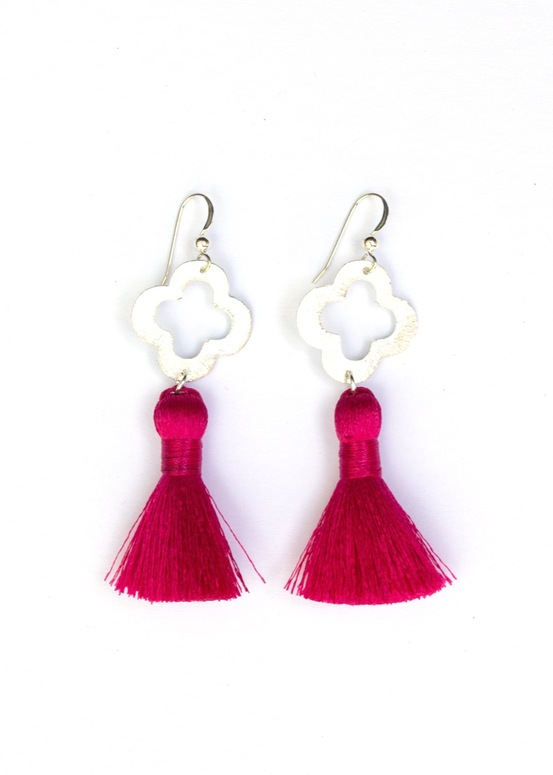 Blakely Tassel Earrings- Hot Pink