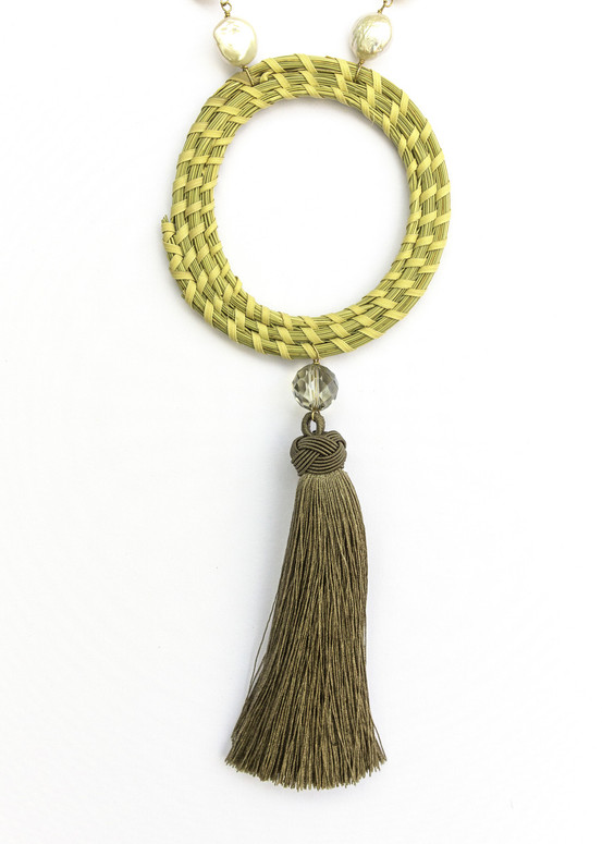 Sweetgrass Tassel Necklace with Pearls
