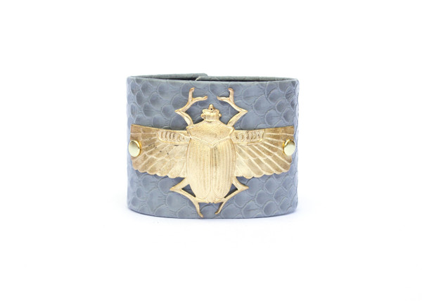 Winged Scarab Cuff- Grey