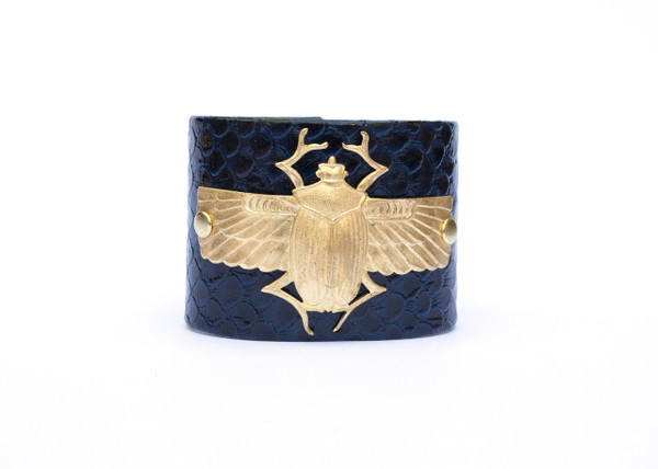 Winged Scarab Cuff- Navy