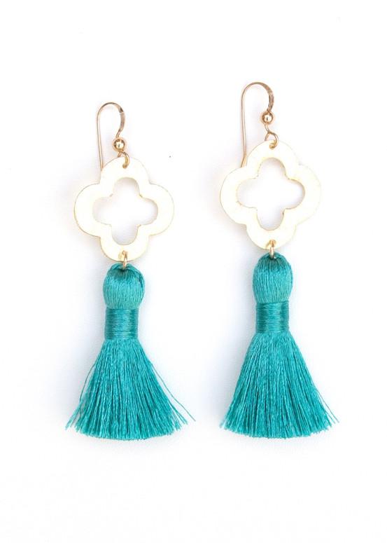Blakely Tassel Earrings- Aqua