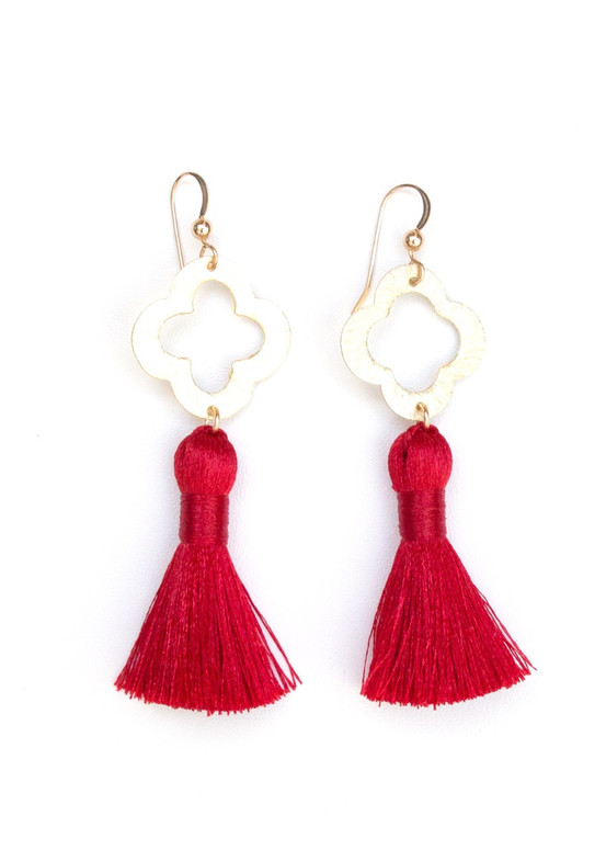 Blakely Tassel Earrings- Red