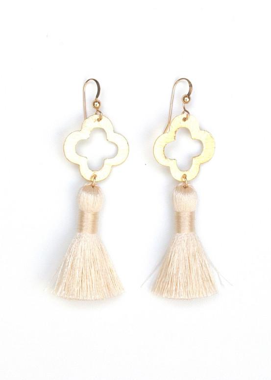 Blakely Tassel Earrings- Cream