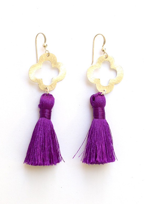 Blakely Tassel Earrings- Purple