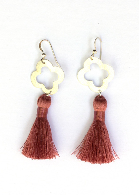 Blakely Tassel Earrings- Dusty Rose