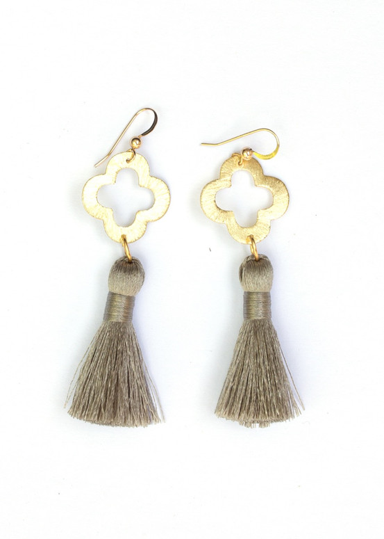 Blakely Tassel Earrings- Gray