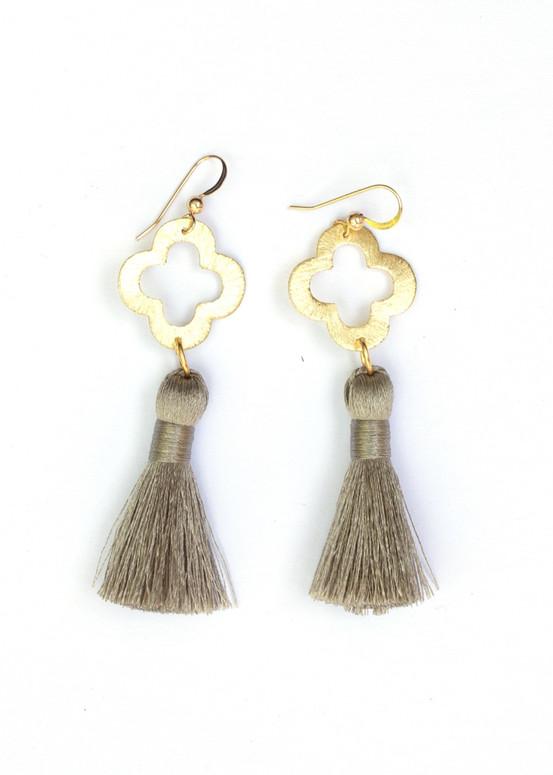 Blakely Tassel Earrings- Gray