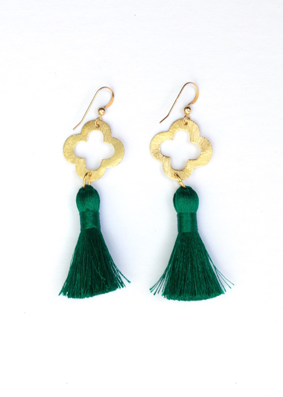 Blakely Tassel Earrings- Emerald