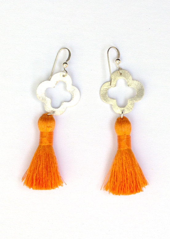 Blakely Tassel Earrings- Orange
