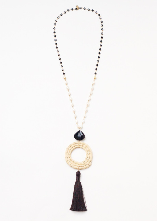 Onyx Sweetgrass Necklace