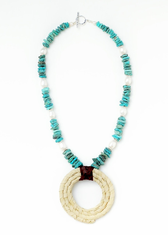 Turquoise Sweetgrass Necklace