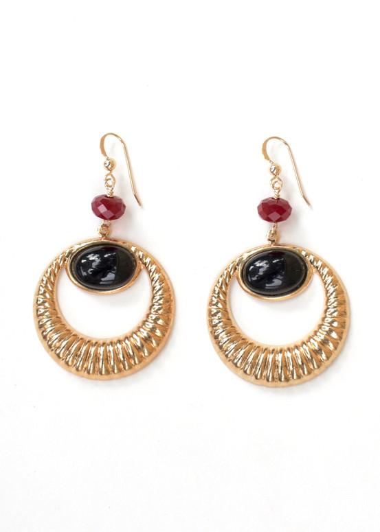 Greta Earrings- Onyx + Red