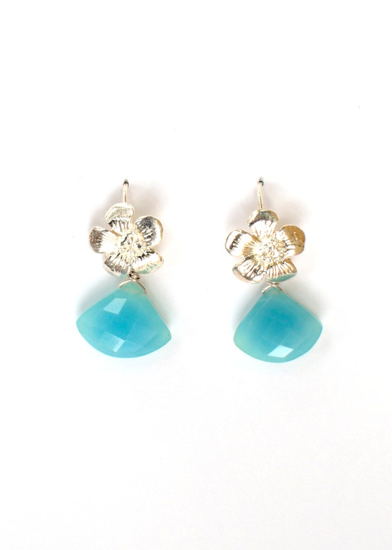 Hibiscus Earrings- Blue Jade