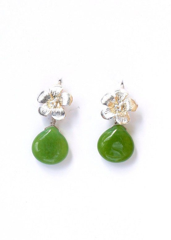 Hibiscus Earrings- Green Jade