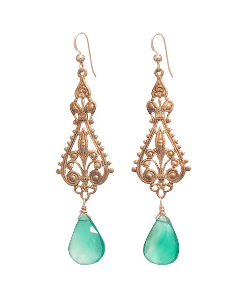 Lander Earrings- Green Jade
