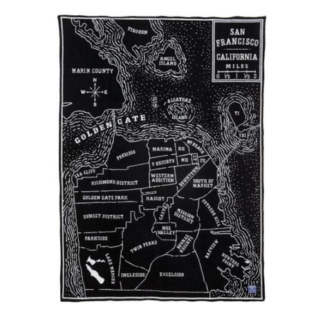 Vintage San Francisco Map Throw Blanket