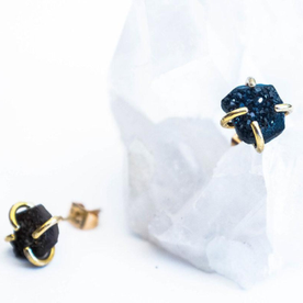 Black Druzy Free Form Earrings