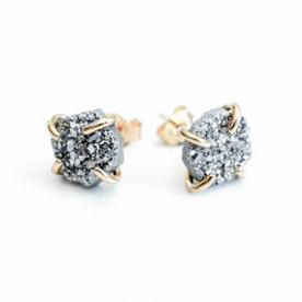 Silver Druzy Free Form Earrings