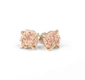 Rose Gold Druzy Prong Earrings