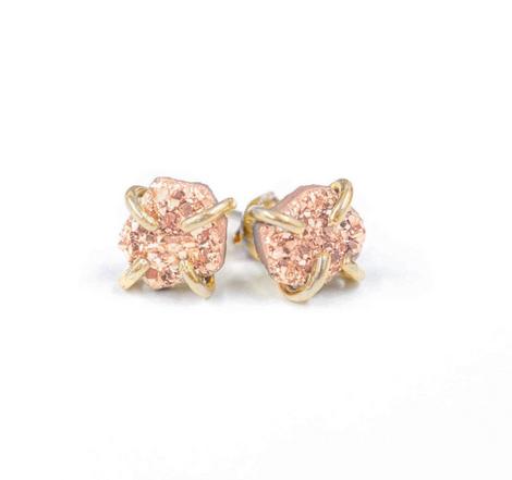 Druzy Earrings - Rose Gold