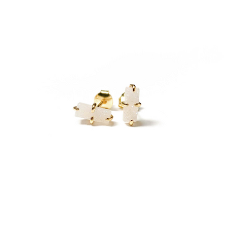 Bar Earrings - White Druzy