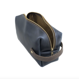Blue Leather Dopp Kit