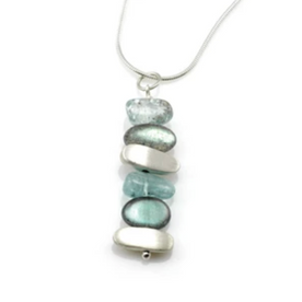 Silver Necklace with Labradorite