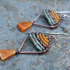 Rustic hand woven earrings