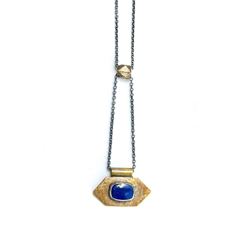 Lapis and Brass Necklace