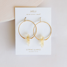 Gold Citrine Hoops
