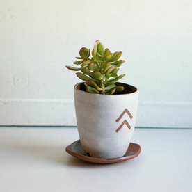 Ceramic Planter with Arrows