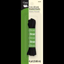 """1/8"""" Braided Elastic, Black, 4yd"""
