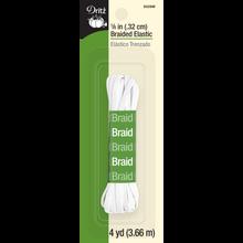 """1/8"""" Braided Elastic, White, 4yd"""
