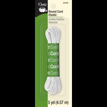 Round Cord Elastic, White, 5yd