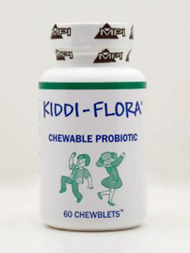 Kiddi-Fora Chewable Probiotics by Marco Pharma   60 Tablets   Description:   Provides the best form of Probiotic which survives stomach acid and antibiotics.  Provides digestive support, helping to reverse constipation and diarrhea by rebalancing the intestinal flora population.  This probiotic assists in the pH balance of the gut.  Children love the natural cherry taste and parents love that their children are keeping their intestinal tract healthy!   Ingredients:  One chewblet contains 150 million spores of Bacillus Coagulans, guaranteed viable during the shelf life of the product.  The active ingredient in Kiddi-Flora is formulated in a natural, milk-free base of nutrients that promote the proliferation of these friendly probiotic dietary supplement.   Sweetened with raspberry... children love them!   Suggested Use:  Give your child one to three chewblets one to two times daily, before a meal, or as directed.   Chewblets can be allowed to dissolve in the mouth or chewed before swallowing, break chewblet into small pieces.   Special Comments:  Candidiasis is one of the most common yeast conditions accompanied by many symptoms.   Candidiasis is caused by Candida Albicans which is a naturally occurring organism of the oral mucosa and as a constituent of the colonic flora.  An imbalance due to poor diet or excessive use of antibiotics can cause an overgrowth with severe symptoms.   Bacillus Coagulans versus Acidophilus:  Many parents give their children Acidophilus milk or supplements.  Extensive tests and years of study have shown Bacillus Coagulans to be significantly superior to Lactobacillus Acidophilus due to its excellent preservability, high proliferating ability in the intestinal tract and lack of side effects.   According to the New England Journal of Medicine, Bacillus Coagulans does NOT produce D(-) left-spinning lactic acid, which is produced by Lactobacillus Acidophilus. D(-) lactic acid can cause metabolic acidosis, a serious disease in children.   The 
