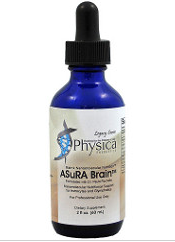 Image of a bottle of AsuRA Brain support supplement from Clinical Nutrition Centers
