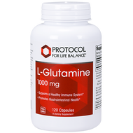 An image of a bottle of L-Glutamine tablets by Protocol for Life Balance from Clinical Nutrition Centers.