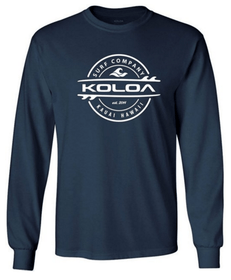 Navy / White logo -Long Sleeve Thruster Surfboards Logo Heavy Cotton T-Shirts. Regular, Big & Tall Koloa Surf Co.
