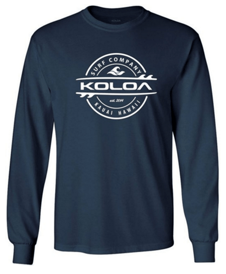 57c150669ec0 Navy   White logo -Long Sleeve Thruster Surfboards Logo Heavy Cotton T- Shirts.