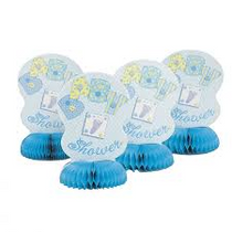 Lot of 8 Boys Blue Baby Shower Honeycomb Centerpiece Decoration