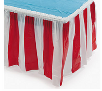 """2 Red and White Striped Table Skirts 14' x 29"""" Circus Carnival Party Tableskirt"""