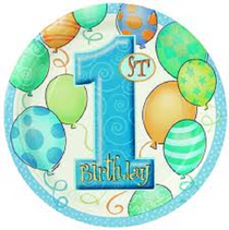 """Blue Boys 1st Birthday 7"""" Dessert Plates 8 Count Party Supplies Paper Goods"""