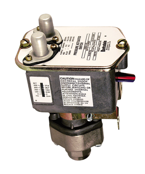 Barksdale Series C9622 Sealed Piston Pressure Switch, Housed, Dual Setpoint, 15 to 200 PSI, C9622-0-V