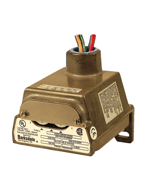 Barksdale Series CD1H Diaphragm Pressure Switch, Housed, Single Setpoint, 0.4 to 18 PSI, CD1H-A18SS-P2-Z1