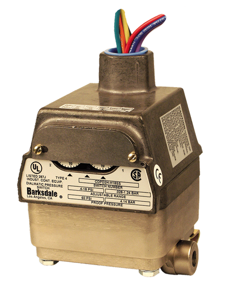 Barksdale Series CDPD2H Calibrated Differential Pressure Switch, Housed, Dual Setpoint, 0.4 to 18 PSI, CDPD2H-GH18SS