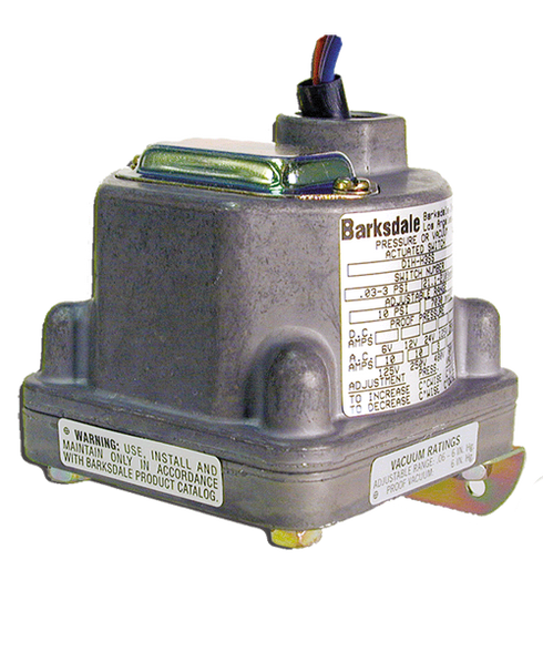 Barksdale Series D1H Diaphragm Pressure Switch, .11 PSI Decr Factory Preset, Housed, Single Setpoint, 0.018 to 1.7 PSI, D1H-H2SS-S0412