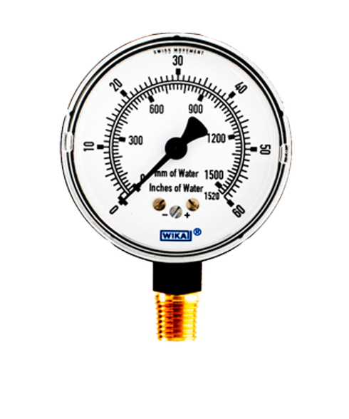 WIKA Type 611.10 Low Pressure Gauge 0-60 in H2O 9851704