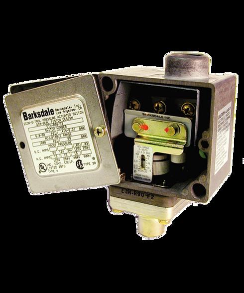 Barksdale Series E1H Dia-Seal Piston Pressure Switch, Housed, Single Setpoint, 3 to 90 PSI, E1H-H90-F2-V