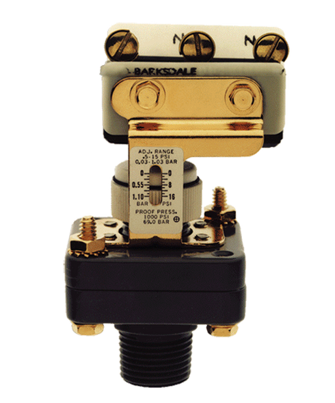 Barksdale Series E1S Dia-Seal Piston Pressure Switch, Stripped, Single Setpoint E1S-H15-P4-V